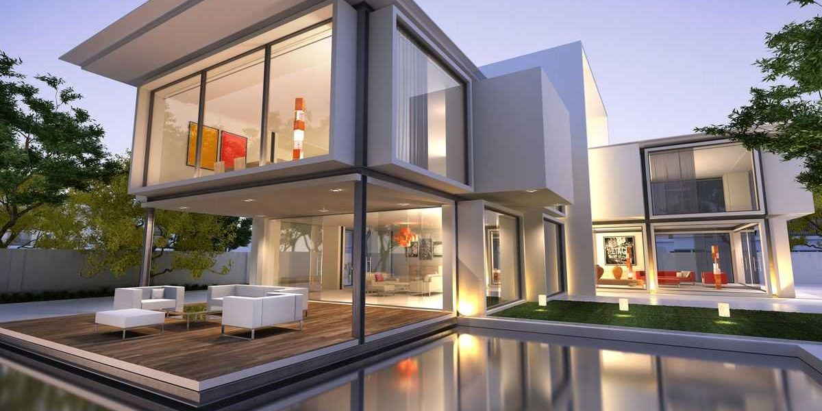 Modern home with a white exterior and floor-to-ceiling Amberline windows